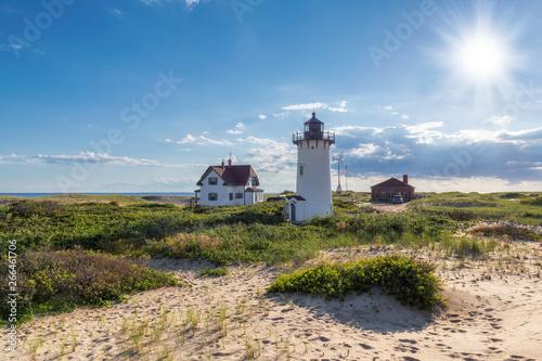 Obraz na płótnie Cape Cod beach, Race Point lighthouse at Sunset, Massachusetts, USA