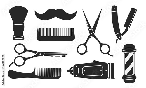 Set of 9 barbershop icons isolated on white background. 9 Barbershop and haircuts salon design elements. Vector illustration