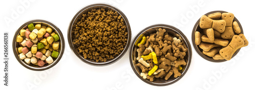 banner of pet food in bowls and toys isolated on white background