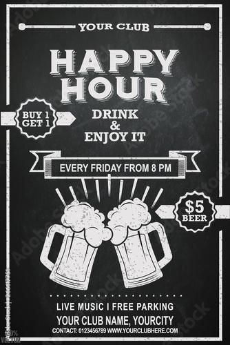 Fotografie, Tablou Beer Happy hour flyer design on chalkboard