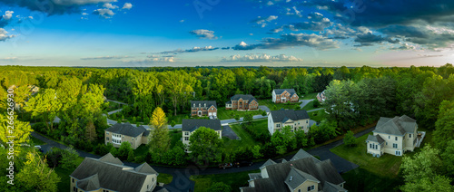 Fotografie, Obraz American luxury real estate single family houses with brick facade and two car g