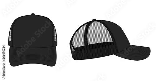 Obraz na plátně trucker cap / mesh cap template illustration (black)