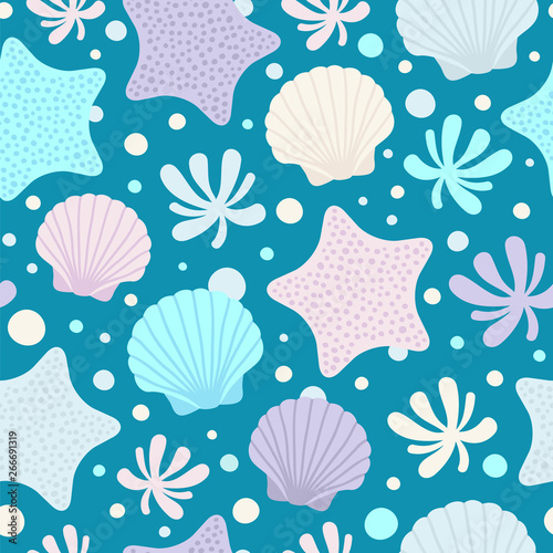 Cuadros en Lienzo Seamless vector pattern with seashells, water plant and starfishes in soft colors