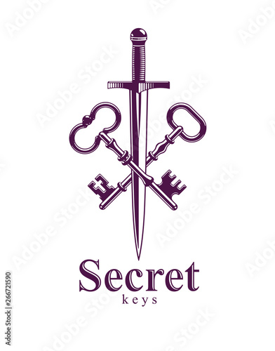 Crossed keys and dagger vector symbol emblem, turnkeys and sword, protected secrets, secured power, ancient vintage logo or emblem Fototapete