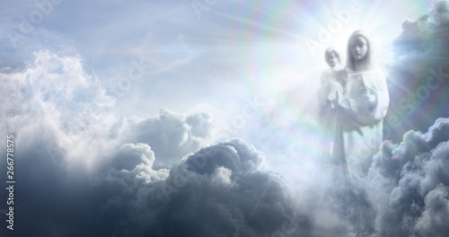 Stampa su Tela Apparition Of The Virgin Mary And Baby Jesus In The Clouds