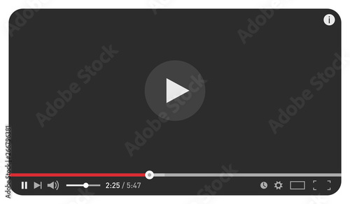 Canvas Print Modern black video player design template for web and mobile apps flat style