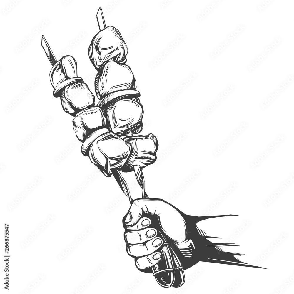 kebab, szaszłyk, grillowany na szpikulcu, trzymać w rękach, jedzenie mięsa, ręcznie rysowane wektor ilustracja realistyczne szkic <span>plik: #266875547 | autor: vladischern</span>