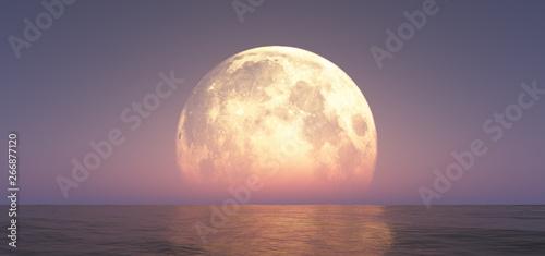 Canvastavla full moon at night abstract