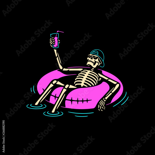 SKELETON IN CAP CHILLING WITH COCKTAIL AND SWIM RING COLOR BLACK BACKGROUND Fototapeta