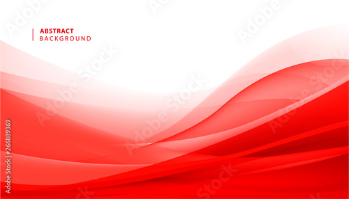 Tablou Canvas Vector abstract red wavy background. Curve flow motion