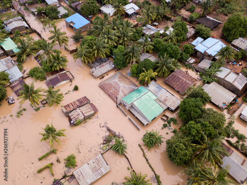 Fototapeta Aerial view overhead houses flooded by a cyclone