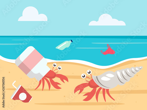 Obraz na płótnie ocean plastic pollution concept