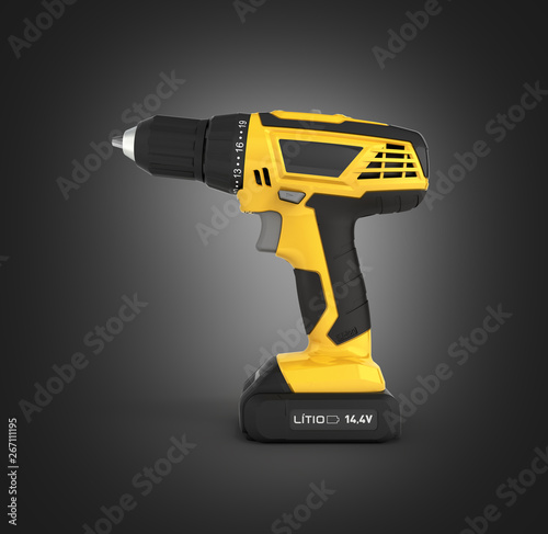 Obraz na płótnie Cordless screwdriver with a drill isolated on black gradient background 3d