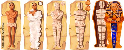 Fotografiet Mummy creation cartoon vector illustration
