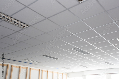 Canvas Print Suspended ceiling with LED square lamps sin the office