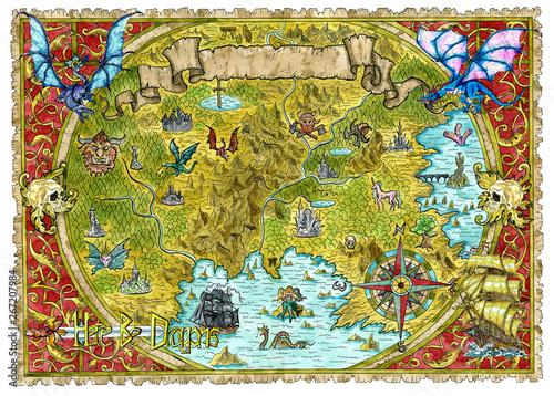 Akwarela piracka mapa świata fantasy ze smokami.