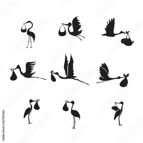 Stampa su Tela stork and baby set black on white background