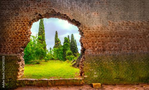 Fotografie, Obraz hole in wall garden eden gate horizontal background broken