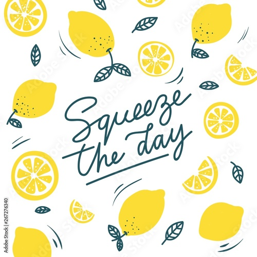 Obraz na plátně Squeeze the day inspirational card with doodles lemons, leaves isolated on white background