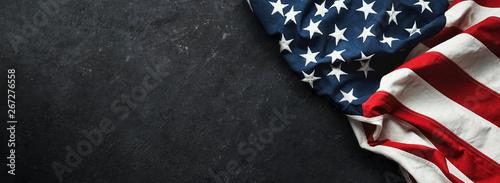 Αφίσα United States Flag On Black Background