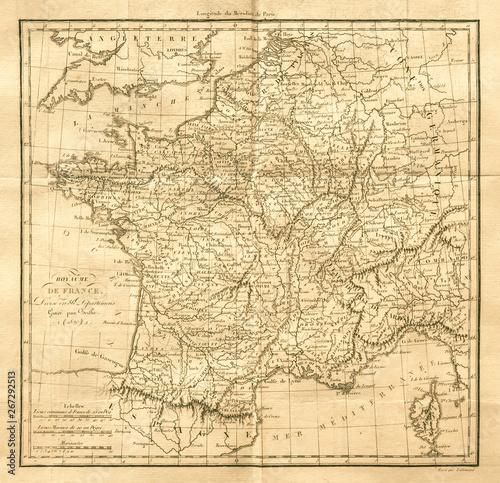 Fotografia Vintage map of France. Old & Antique