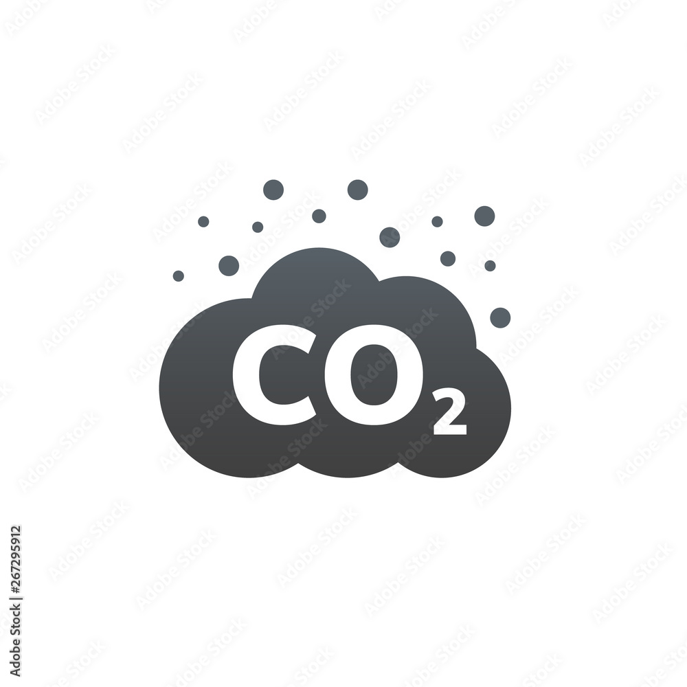 CO2 emissions vector icon. Carbon gas cloud, dioxide pollution. Global ecology exhaust emission smog concept <span>plik: #267295912 | autor: kolonko</span>