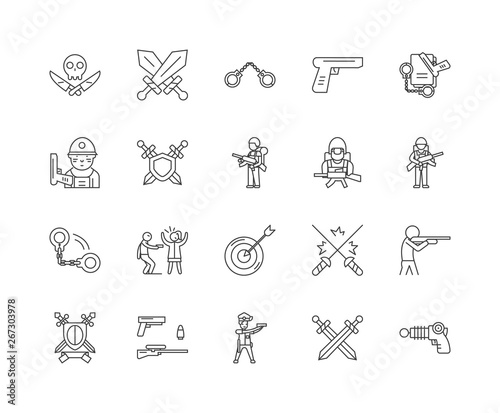 Fotografia Gun dealers gunsmith line icons, linear signs, vector set, outline concept illus