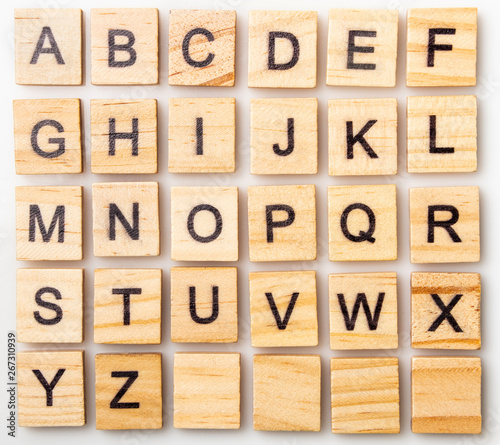 Fotografie, Obraz Complete Scrabble letter English alphabet uppercase