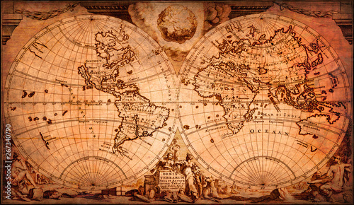 Very old world map, decorated, vintage or retro.