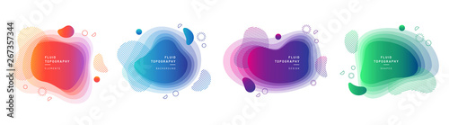 Set of modern graphic design elements in shape of fluid blobs. Isolated liquid stain topography. Gradient of blue and green, red and violet geometrical shapes.Blurry background for flyer, presentation