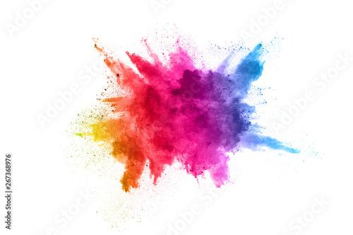 Multicolor powder explosion on White background Fototapeta