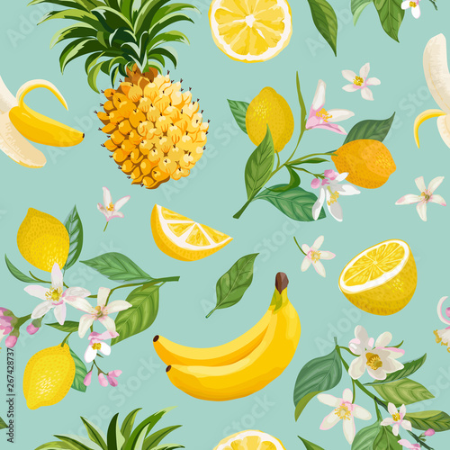 Seamless Tropical Fruit pattern with lemon, banana, pineapple, fruits, leaves, flowers background Fototapete