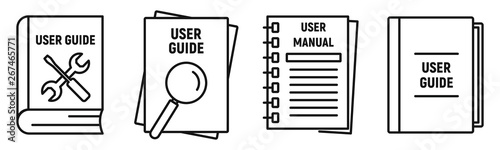 Foto User guide book icons set
