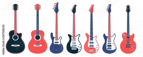 Stampa su Tela Electric guitars and acoustic different designs