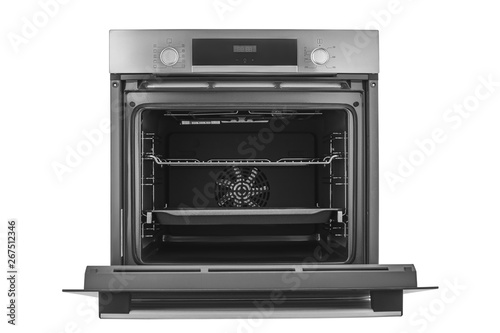 Tablou Canvas Electric oven with open door, isolated on white background with clipping path