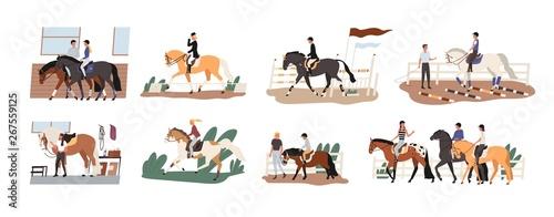 Slika na platnu Collection of people riding horses