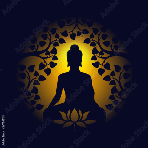 buddha sit under bodhi tree and lotus sign on circle yellow light and dark backg Poster Mural XXL