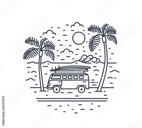 Fotografie, Tablou Monochrome composition with camper trailer or campervan, exotic palm trees, sea and sun drawn with contour lines