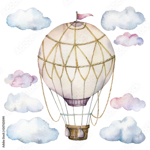 Wallpaper Mural Watercolor set with clouds and hot air balloon