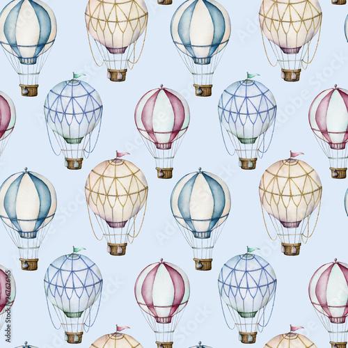 Canvas Watercolor hot air balloons seamless pattern