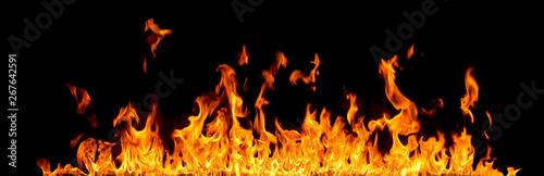 Fotografia Fire flames on black background