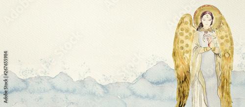 Fotografie, Obraz Watercolor gold angel. Christian banner