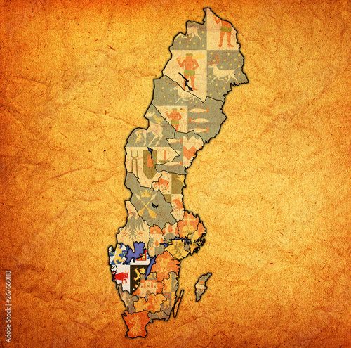 Canvas Print Vastra Gotaland on map of swedish counties