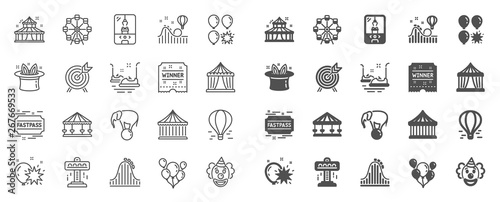 Stampa su Tela Amusement park line icons