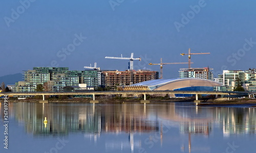 Stampa su Tela New Residential District at the Riverbank of Richmond City Apartment Buildings a