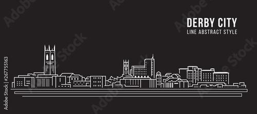 Foto Cityscape Building Line art Vector Illustration design -  derby city