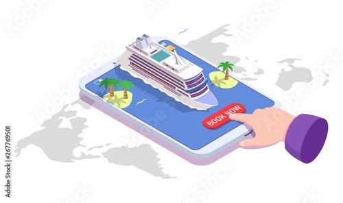 Fotografia Sea cruise online booking, vector isometric illustration