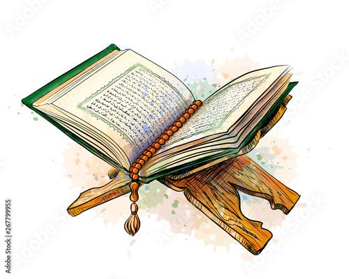 Obraz na plátně The open holy book the Koran on a stand