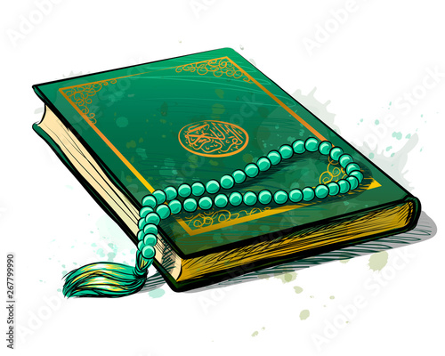 Fotografie, Obraz The holy book of the Koran is green with a rosary