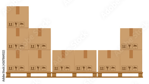 Fotografia crate boxes on wooded pallet, wood pallet with cardboard box in factory warehous